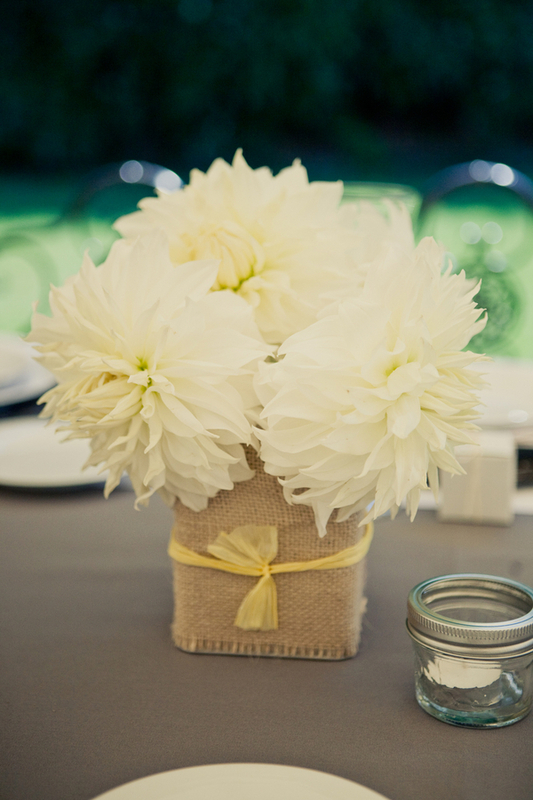 yellow burlap centerpiece